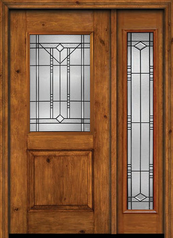 WDMA 44x80 Door (3ft8in by 6ft8in) Exterior Cherry Alder Rustic Plain Panel 1/2 Lite Single Entry Door Sidelight Full Lite Riverwood Glass 1