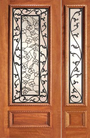 WDMA 44x80 Door (3ft8in by 6ft8in) Exterior Mahogany Floral Scrollwork Ironwork Glass Door One Sidelight 1