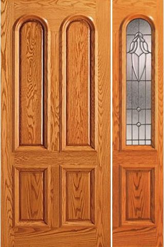 WDMA 44x80 Door (3ft8in by 6ft8in) Exterior Mahogany Brazilian Arch Lite One Side light Door 1