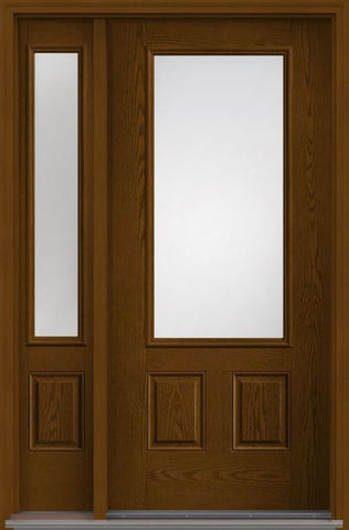 WDMA 44x80 Door (3ft8in by 6ft8in) Patio Oak Clear 3/4 Lite 2 Panel Fiberglass Exterior Door 1 Side 1