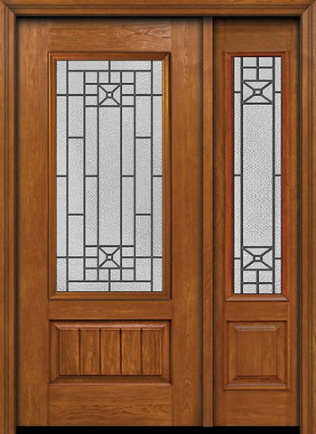 WDMA 44x80 Door (3ft8in by 6ft8in) Exterior Cherry Plank Panel 3/4 Lite Single Entry Door Sidelight Courtyard Glass 1