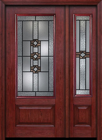 WDMA 44x80 Door (3ft8in by 6ft8in) Exterior Cherry 3/4 Lite 1 Panel Single Entry Door Sidelight Mission Ridge Glass 1