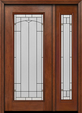WDMA 44x80 Door (3ft8in by 6ft8in) Exterior Mahogany Full Lite Single Entry Door Sidelight Topaz Glass 1