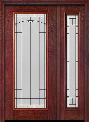 WDMA 44x80 Door (3ft8in by 6ft8in) Exterior Cherry Full Lite Single Entry Door Sidelight Topaz Glass 1