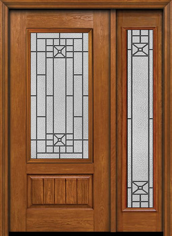 WDMA 44x80 Door (3ft8in by 6ft8in) Exterior Cherry Plank Panel 3/4 Lite Single Entry Door Sidelight Full Lite Courtyard Glass 1