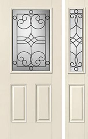WDMA 44x80 Door (3ft8in by 6ft8in) Exterior Smooth Salinas Half Lite 2 Panel Star Door 1 Side Half Lite Sidelight 1