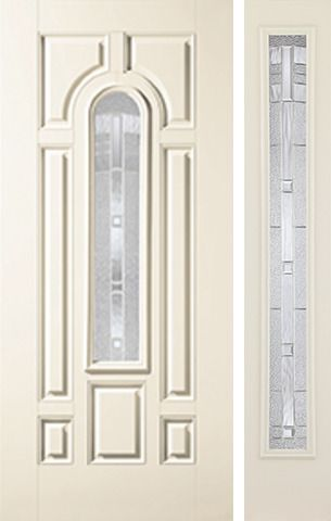 WDMA 44x80 Door (3ft8in by 6ft8in) Exterior Smooth MaplePark Center Arch Lite 7 Panel Star Door 1 Side 1