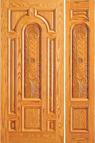 WDMA 44x80 Door (3ft8in by 6ft8in) Exterior Mahogany Prehung Door with One Sidelight Carved 8 Panel 1