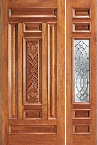WDMA 44x80 Door (3ft8in by 6ft8in) Exterior Mahogany Prehung 1 Lite House One Sidelight Door 1