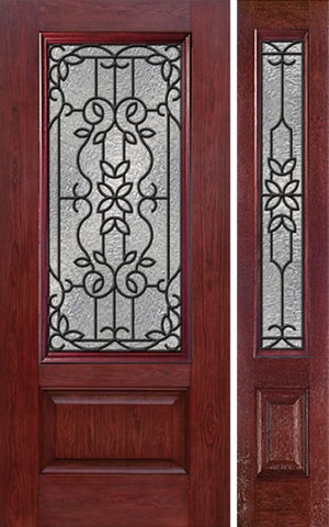 WDMA 44x80 Door (3ft8in by 6ft8in) Exterior Cherry 3/4 Lite 1 Panel Single Entry Door Sidelight MD Glass 1