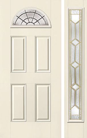 WDMA 44x80 Door (3ft8in by 6ft8in) Exterior Smooth CrystallineTM Fan Lite 4 Panel Star Door 1 Side 1