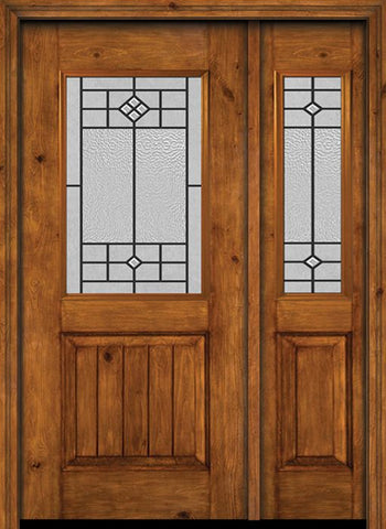 WDMA 44x80 Door (3ft8in by 6ft8in) Exterior Cherry Alder Rustic V-Grooved Panel 1/2 Lite Single Entry Door Sidelight Beaufort Glass 1