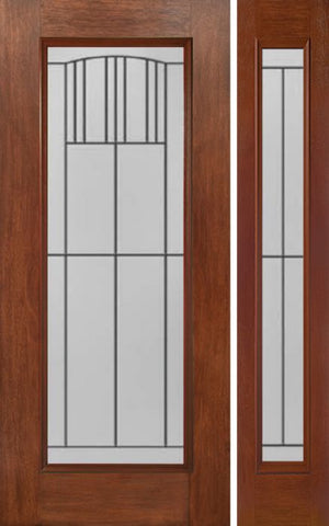 WDMA 44x80 Door (3ft8in by 6ft8in) Exterior Mahogany Full Lite Single Entry Door Sidelight MI Glass 1