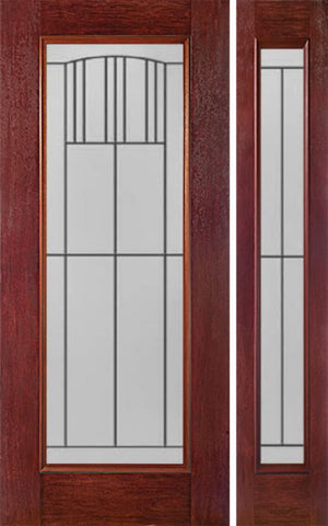 WDMA 44x80 Door (3ft8in by 6ft8in) Exterior Cherry Full Lite Single Entry Door Sidelight MI Glass 1