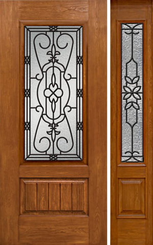 WDMA 44x80 Door (3ft8in by 6ft8in) Exterior Cherry Plank Panel 3/4 Lite Single Entry Door Sidelight 3/4 Lite w/ MD Glass 1