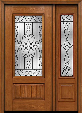 WDMA 44x80 Door (3ft8in by 6ft8in) Exterior Cherry Plank Panel 3/4 Lite Single Entry Door Sidelight Wyngate Glass 1