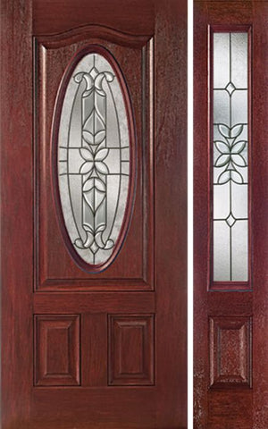 WDMA 44x80 Door (3ft8in by 6ft8in) Exterior Cherry Oval Three Panel Single Entry Door Sidelight CD Glass 1
