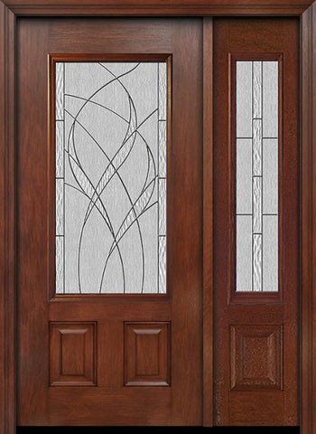 WDMA 44x80 Door (3ft8in by 6ft8in) Exterior Mahogany 3/4 Lite Two Panel Single Entry Door Sidelight Waterside Glass 1