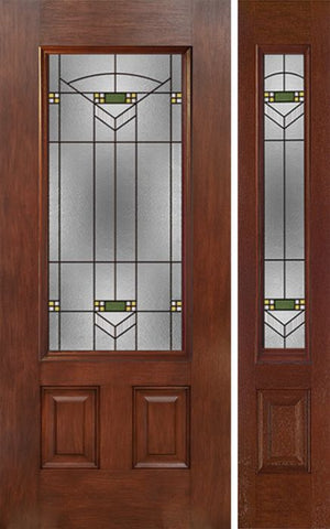 WDMA 44x80 Door (3ft8in by 6ft8in) Exterior Mahogany 3/4 Lite Single Entry Door Sidelight GR Glass 1