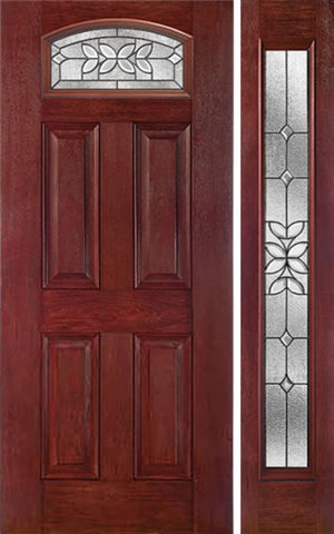 WDMA 44x80 Door (3ft8in by 6ft8in) Exterior Cherry Camber Top Single Entry Door Sidelight CD Glass 1