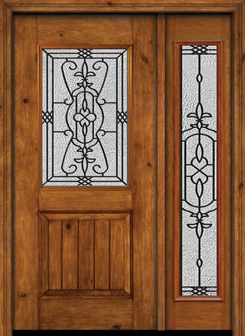 WDMA 44x80 Door (3ft8in by 6ft8in) Exterior Cherry Alder Rustic V-Grooved Panel 1/2 Lite Single Entry Door Sidelight Full Lite Jacinto Glass 1