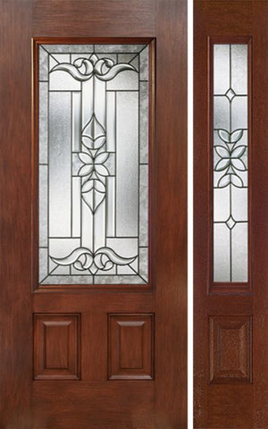 WDMA 44x80 Door (3ft8in by 6ft8in) Exterior Mahogany 3/4 Lite Single Entry Door Sidelight CD Glass 1
