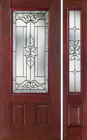 WDMA 44x80 Door (3ft8in by 6ft8in) Exterior Cherry 3/4 Lite Two Panel Single Entry Door Sidelight CD Glass 1
