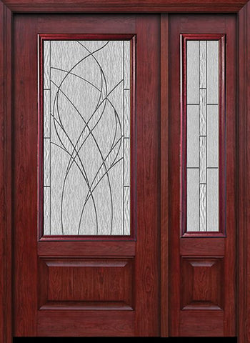 WDMA 44x80 Door (3ft8in by 6ft8in) Exterior Cherry 3/4 Lite 1 Panel Single Entry Door Sidelight Waterside Glass 1