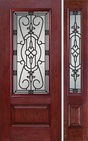 WDMA 44x80 Door (3ft8in by 6ft8in) Exterior Cherry 3/4 Lite 1 Panel Single Entry Door Sidelight JA Glass 1