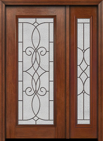 WDMA 44x80 Door (3ft8in by 6ft8in) Exterior Mahogany Full Lite Single Entry Door Sidelight Ashbury Glass 1