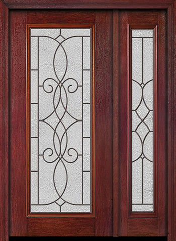 WDMA 44x80 Door (3ft8in by 6ft8in) Exterior Cherry Full Lite Single Entry Door Sidelight Ashbury Glass 1