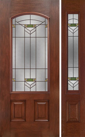 WDMA 44x80 Door (3ft8in by 6ft8in) Exterior Mahogany Camber 3/4 Lite Single Entry Door Sidelight GR Glass 1