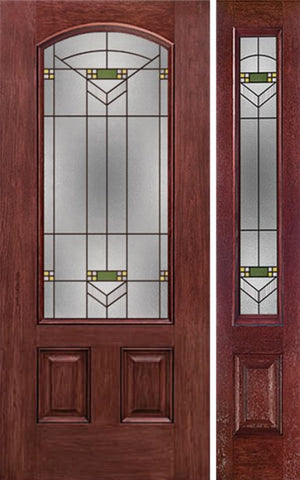 WDMA 44x80 Door (3ft8in by 6ft8in) Exterior Cherry Camber 3/4 Lite Two Panel Single Entry Door Sidelight GR Glass 1