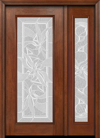 WDMA 44x80 Door (3ft8in by 6ft8in) Exterior Mahogany Full Lite Single Entry Door Sidelight Impressions Glass 1