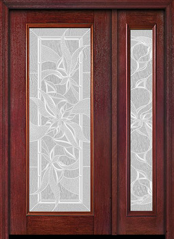 WDMA 44x80 Door (3ft8in by 6ft8in) Exterior Cherry Full Lite Single Entry Door Sidelight Impressions Glass 1