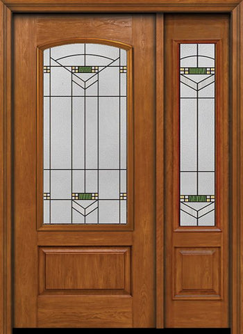 WDMA 44x80 Door (3ft8in by 6ft8in) Exterior Cherry Camber 3/4 Lite Single Entry Door Sidelight Greenfield Glass 1