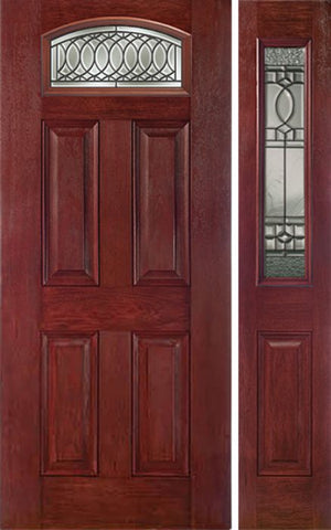 WDMA 44x80 Door (3ft8in by 6ft8in) Exterior Cherry Camber Top Single Entry Door Sidelight PS Glass 1