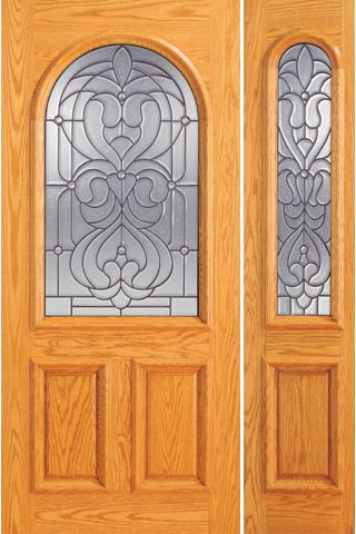 WDMA 44x80 Door (3ft8in by 6ft8in) Exterior Mahogany Radius Li Entry One Sidelight Door 1