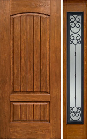 WDMA 44x80 Door (3ft8in by 6ft8in) Exterior Cherry Plank Two Panel Single Entry Door Sidelight Full Lite BM Glass 1