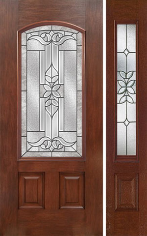 WDMA 44x80 Door (3ft8in by 6ft8in) Exterior Mahogany Camber 3/4 Lite Single Entry Door Sidelight CD Glass 1
