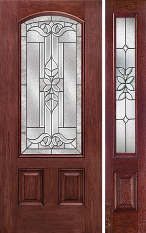 WDMA 44x80 Door (3ft8in by 6ft8in) Exterior Cherry Camber 3/4 Lite Two Panel Single Entry Door Sidelight CD Glass 1