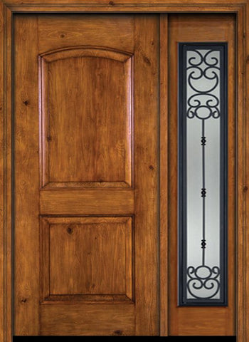 WDMA 44x80 Door (3ft8in by 6ft8in) Exterior Knotty Alder Alder Rustic Plain Panel Single Entry Door Sidelight Belle Meade Glass 1