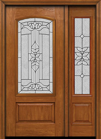 WDMA 44x80 Door (3ft8in by 6ft8in) Exterior Cherry Camber 3/4 Lite Single Entry Door Sidelight Cadence Glass 1