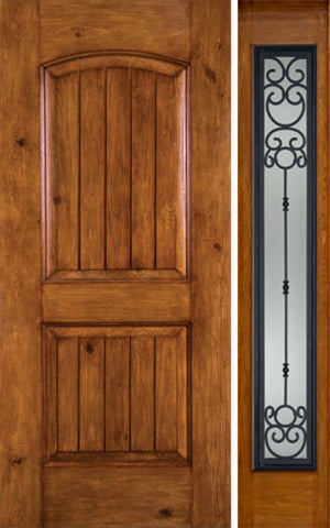 WDMA 44x80 Door (3ft8in by 6ft8in) Exterior Knotty Alder Alder Rustic V-Grooved Panel Single Entry Door Sidelight Full Lite BM Glass 1