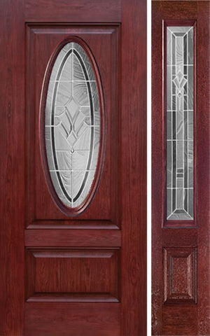WDMA 44x80 Door (3ft8in by 6ft8in) Exterior Cherry Oval Two Panel Single Entry Door Sidelight RA Glass 1