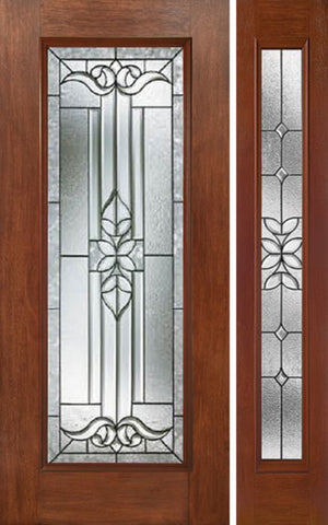 WDMA 44x80 Door (3ft8in by 6ft8in) Exterior Mahogany Full Lite Single Entry Door Sidelight CD Glass 1