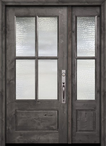 WDMA 44x80 Door (3ft8in by 6ft8in) Exterior Knotty Alder 80in 2/3 Lite 4 Lite SDL Estancia Alder Door /1side 1