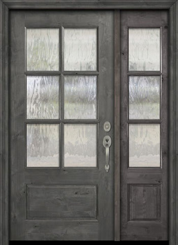 WDMA 44x80 Door (3ft8in by 6ft8in) Exterior Knotty Alder 80in 2/3 Lite 6 Lite SDL Estancia Alder Door /1side 1