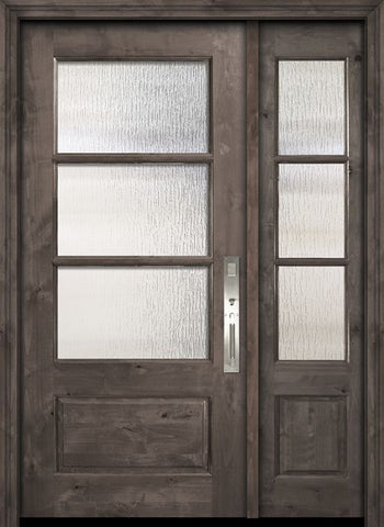WDMA 44x80 Door (3ft8in by 6ft8in) Exterior Knotty Alder 80in 2/3 Lite 3 Lite SDL Estancia Alder Door /1side 1