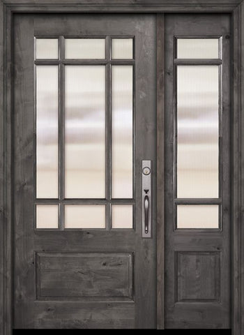 WDMA 44x80 Door (3ft8in by 6ft8in) Exterior Knotty Alder 80in 2/3 Lite Marginal 9 Lite SDL Estancia Alder Door /1side 1